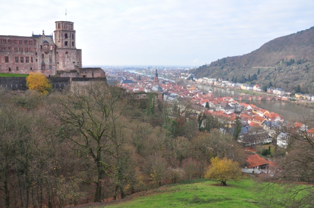Looking back to Heidelberg from the castle gardens